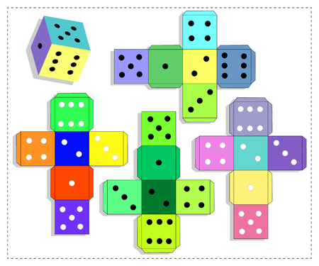 Dice for games. Paper Dice Template. Vector. Çizim