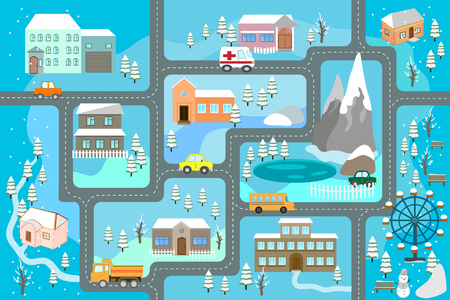 Winter ?artoon map seamless pattern (roads, cars and houses). City map for children. Snowy city landscape, car track - play mat. Standard-Bild - 108495081