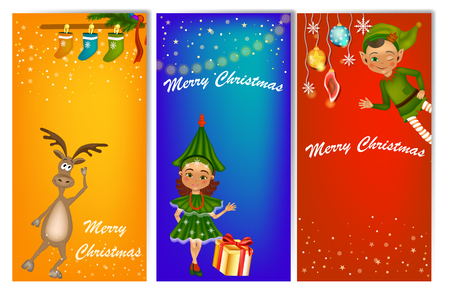 Set of three vertical New Year banners with cute kids in costume (fir tree costume and elf). New Year banner template with place for your text.