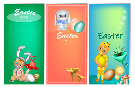 Set of three vertical Easter banners with cute kids in costume (bunny and chicken). Easter banner template with place for your text.