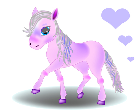 Cute cartoon little pink baby horse. Detailed vector illustration isolated on white. My little pony
