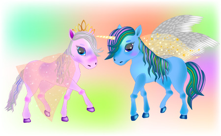 Fairy Pegasus and Beautiful Ponies. Cute cartoon little baby horse. Detailed vector illustration.