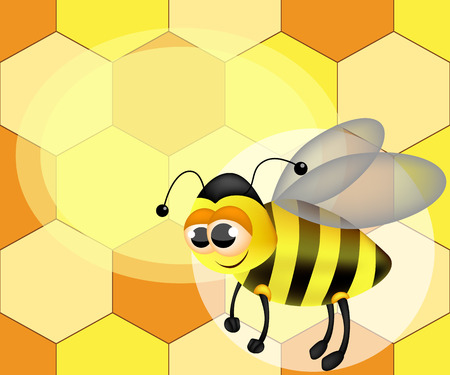 Illustration of a cute cartoon bee. Honey label with bee. Advertisement with space for text.