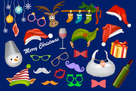 Santa hat, glasses, mustache, beard, elf, hat, gift, snowman. Party decoration and Christmas accessories