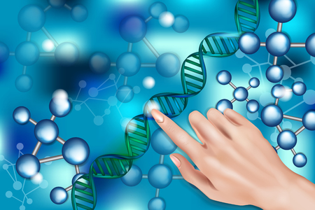 Digital DNA structure in blue background. Touching DNA structure with his finger 3D Molecular structure