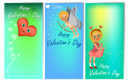 Set of three vertical Valentines Day banners with cute kids in costume (Valentine and Cupid). Valentines Day banner template with place for your text.