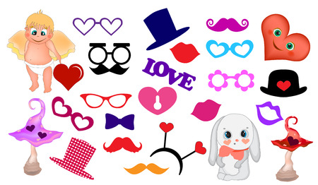 Valentines Day Photo Booth Props. Printable Decorations. Valentine scrapbooking vector set Çizim