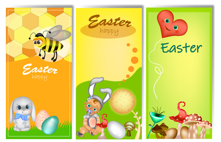 Set of three vertical Easter banners for your text.