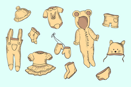Hand drawn set of baby and newborn clothes.