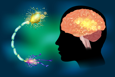 Seizures epilepsy. Anatomy of brain, electrical discharge. Illustration