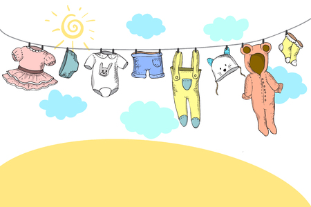 A vector illustration of baby clothes on clothespin Ilustração
