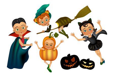Halloween kids character in costume: pumpkin, black cat, dracula, witch