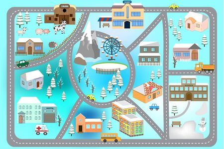 Winter ?artoon map seamless pattern (roads, cars and houses). City map for children. Snowy city landscape, car track - play mat. 向量圖像