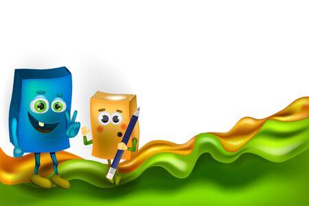 Book character vector cartoon. Preschool Elementary school kids certificate background design template.