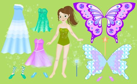 Paper doll of beautiful fairy. Body templates. Dress up doll