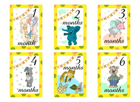 Baby Months Cards. Set of cute stickers with animals for babies