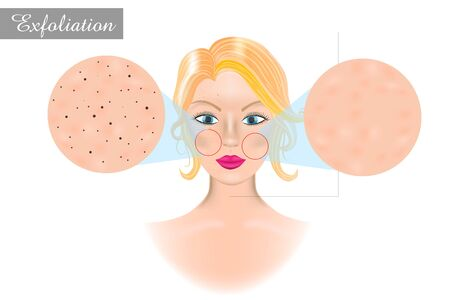 Exfoliation (cosmetology). Peeling or physically scrubbing.  イラスト・ベクター素材
