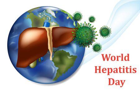 World Hepatitis Day. Aims to raise global awareness of hepatitis 向量圖像