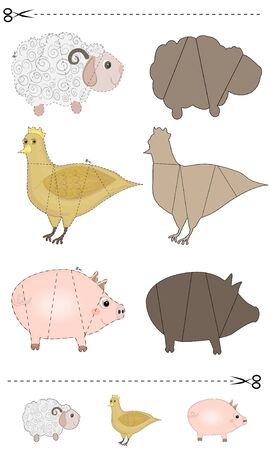 A vector illustration of a animals puzzle. Find the correct shadow. Educational game for children. Farm animals.