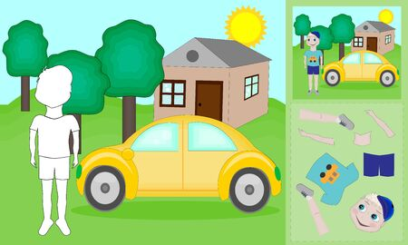 A vector illustration of a boy and car puzzle. Find the correct shadow.