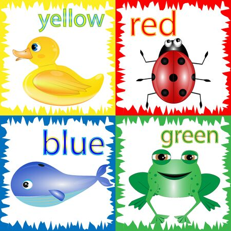 Cartoon Illustration of Primary Colors with Animals. Learning colors Stock Illustratie