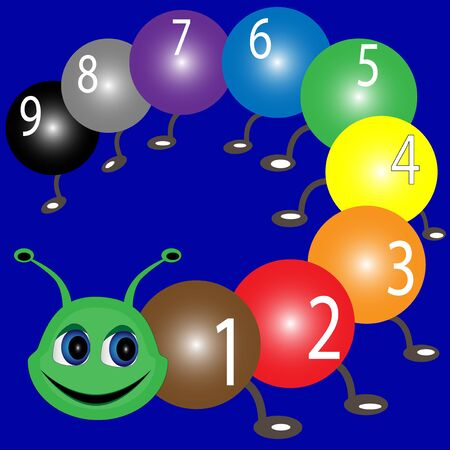 Caterpillar with numbers. Illustration of colorful numbers