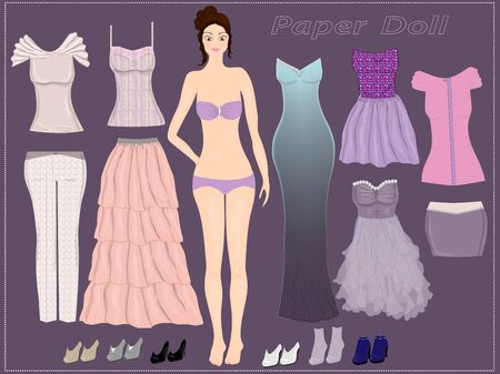 Dress up cute paper doll. Templates doll. Game for girl