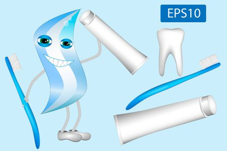 Illustration of dental care items toothbrushes,toothpaste and tooth. For healthy teeth.