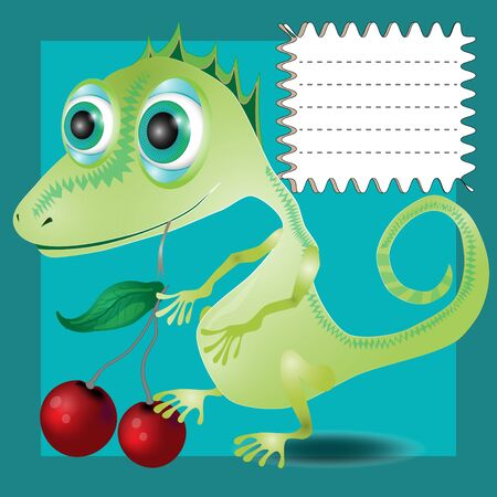A vector illustration of a school notebook cover Funny lizard Zdjęcie Seryjne - 148650883