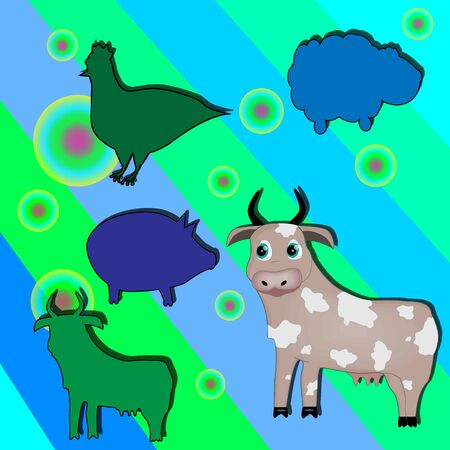 A vector illustration of a animal puzzle. Childrens board game with cow