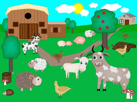 A vector illustration of a animal farm. Colorful farm animals Goat, cow, chicken, sheep, pig,