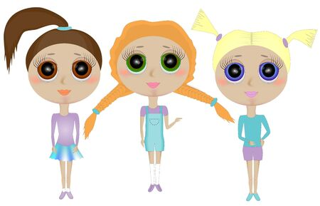 Three characters of funny little girls with big heads. Character girl Zdjęcie Seryjne - 148652229