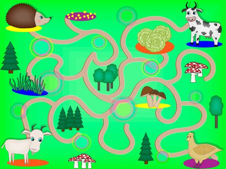 Labyrinth for children with farm animals