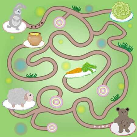 Maze game for children with bear, hare, sheep. Vector