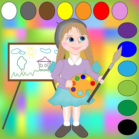 Cartoon Illustration of Primary Colors.Girl artist studies colors
