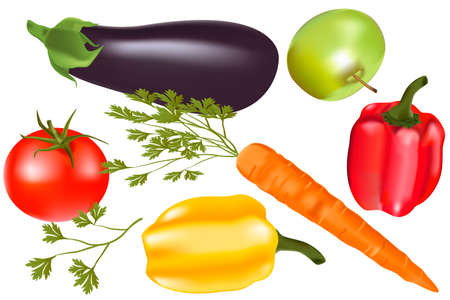 Collection vegetables pepper, carrot, apple, eggplant, vitamins, tomato, parsley.
