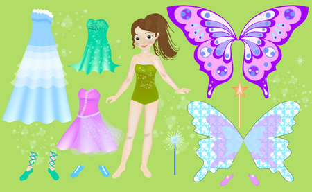 Paper doll of beautiful fairy. Body templates. Zdjęcie Seryjne - 150822307