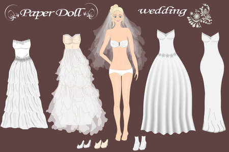 Paper doll of beautiful girl with wedding dresses. Body templates. Bride