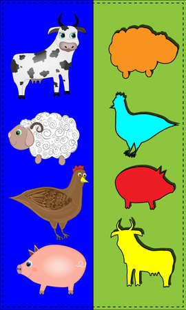 Game for children with animals cow, sheep, chicken, pig Zdjęcie Seryjne - 150822308
