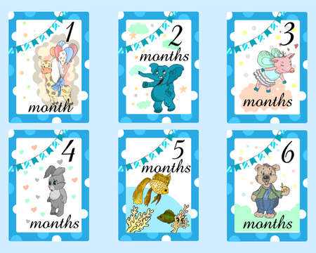 Baby Months Cards for boy. Set of cute stickers with animals