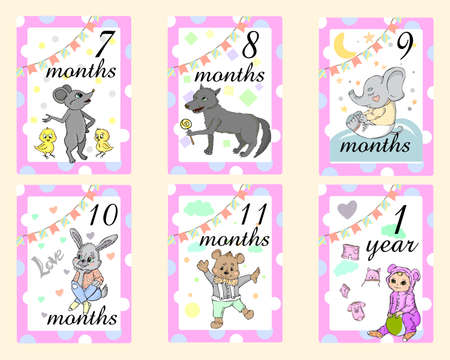 Baby Months Cards for boy. Set of cute stickers with animals Zdjęcie Seryjne - 150760402