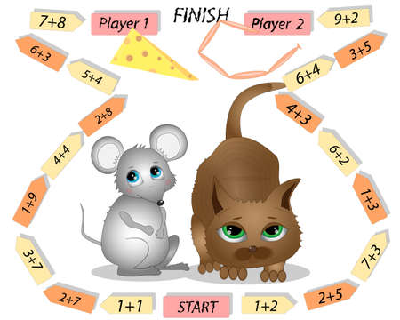Math Board Games For Children with mouse and cat characters. Zdjęcie Seryjne - 150790993