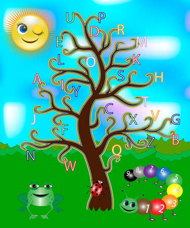 letters of the alphabet on a tree. Bright and colorful alphabet for children.