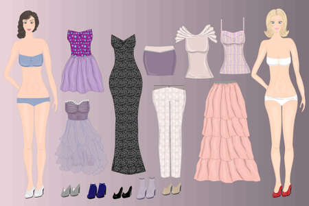 Twodolls girlfriend with wardrobe. Paper doll template