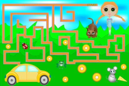 Vector Maze Game with Car and Girl. Game for children