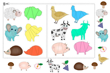 Colorful puzzle for children with animals Stock Illustratie