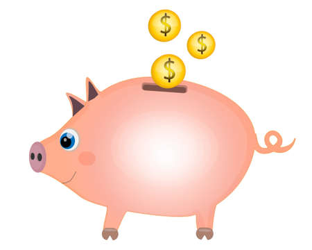 Piggy moneybox with golden coins. Piggy Bank Concept Cartoon. Vector illustration on white background Ilustracja