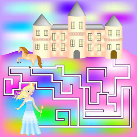 Maze game with a princess, horse and castle. Game for girls. Game for girls