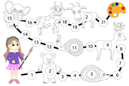 oloring book for children. Board game Color the elephant, cow, goat, snail, deer, bear and hedgehog Zdjęcie Seryjne - 152999890