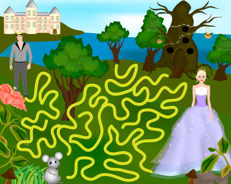 Beautiful colorful game for children. Prince and Princess Ilustracja